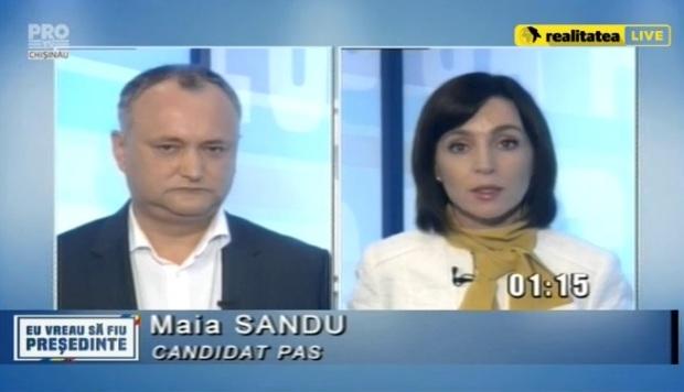 В ходе дебатов Игорь Додон получил от Майи Санду только один вразумительный ответ