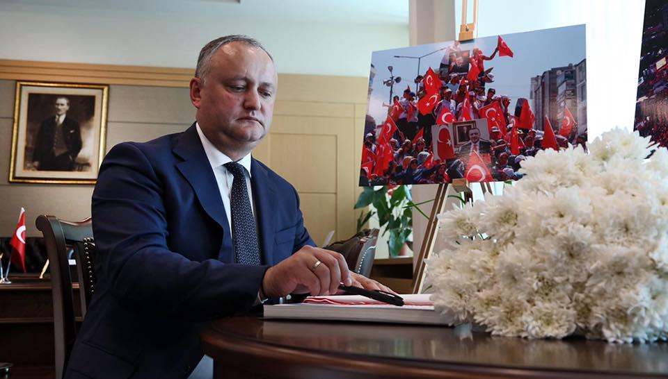 Сочувствие турецкому народу высказал Игорь Додон в годовщину попытки переворота
