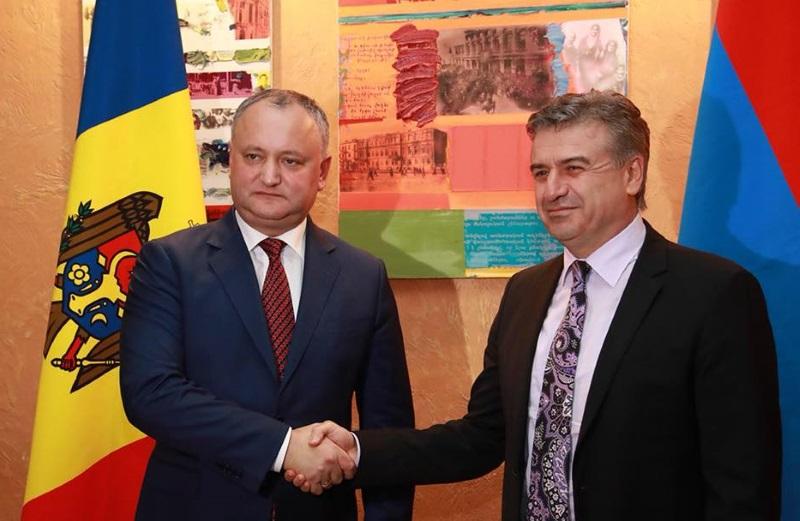 Президент Молдовы обсудил с премьер-министром Армении Кареном Карапетяном вопросы практической реализации договорённостей с Саргсяном