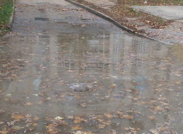 На Ботанике канализационной водой затопило двор (ФОТО)
