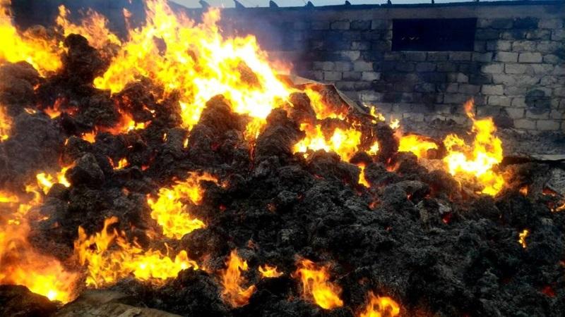В Резине произошел серьезный пожар на ферме: сгорели 4 тысячи тюков соломы, стог сена и три свиньи (ФОТО)