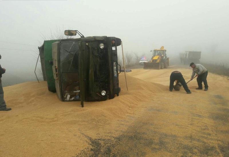 В Гагаузии перевернулся грузовик с зерном (ФОТО)