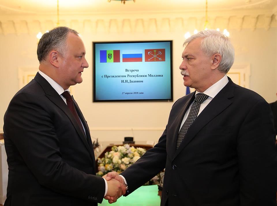 Додон обсудил взаимоотношения Молдовы и России с губернатором Санкт-Петербурга (ВИДЕО, ФОТО)