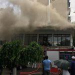 Пожар на Рышкановке: загорелся строящийся офис (ВИДЕО)
