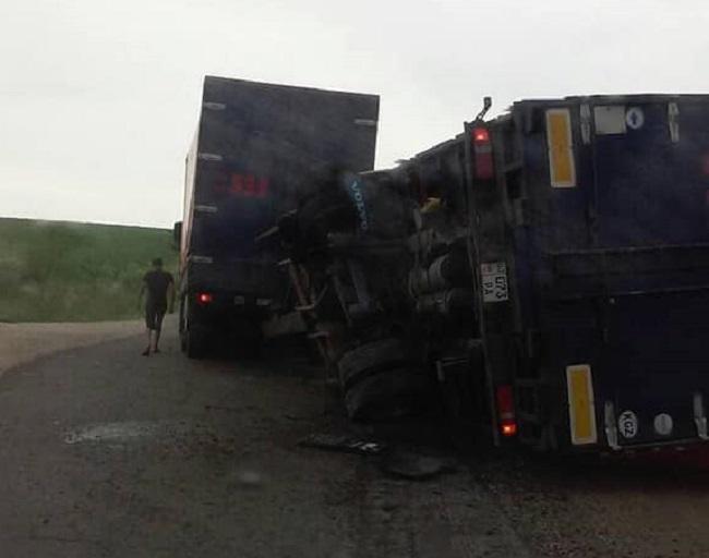Управляемый киргизом грузовик перевернулся в Чимишлии из-за поломки (ФОТО)