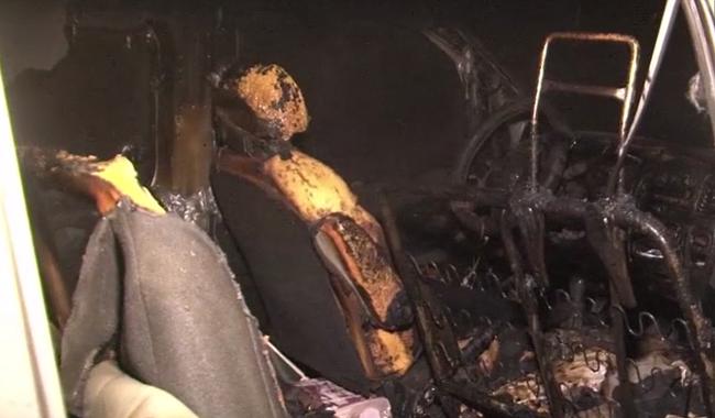 На Ботанике среди ночи сгорел микроавтобус (ВИДЕО)
