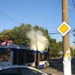 В столице троллейбус загорелся на ходу (ФОТО, ВИДЕО)