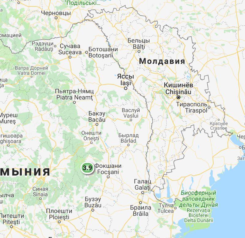 Близ Молдовы за сутки произошло два достаточно сильных землетрясения