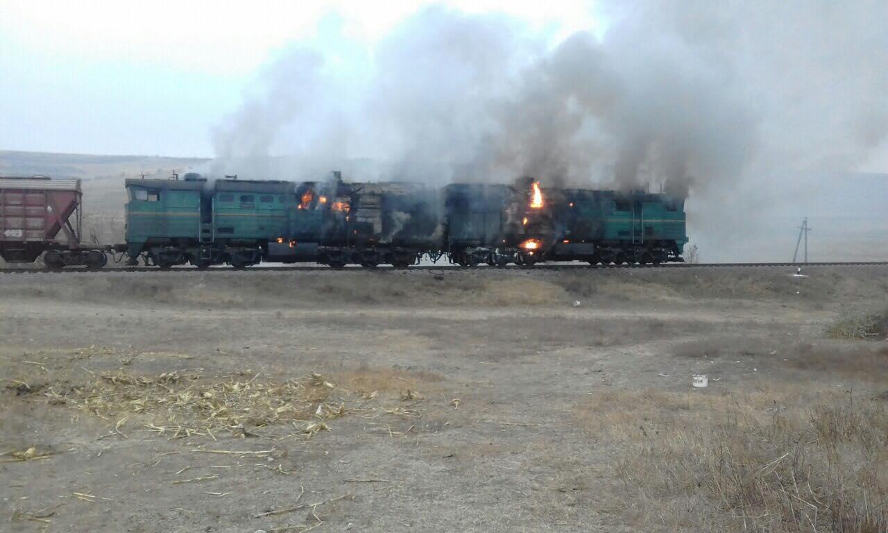 В Унгенах загорелся товарный поезд