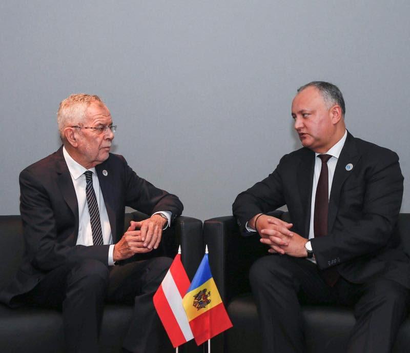 Додон – президенту Австрии: Молдова стремится к сбалансированным отношениям с Западом и Востоком на основе принципа нейтралитета (ФОТО)