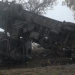 Под Бельцами из-за тумана перевернулся грузовик (ФОТО)