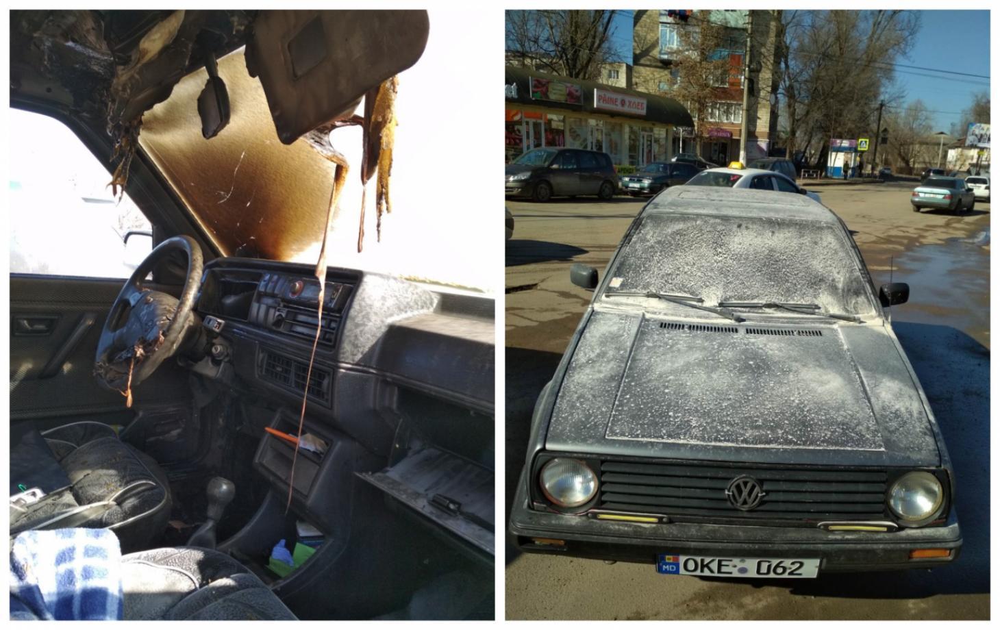 Из-за короткого замыкания в Бельцах загорелся автомобиль
