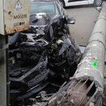 Момент вчерашнего ДТП на Телецентре попал на видео: водитель на высокой скорости влетел в столб (ВИДЕО)