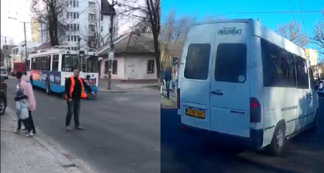 Водитель водителю рознь: шофёр троллейбуса наладил дорожное движение, а маршрутчик проехал на красный (ВИДЕО)