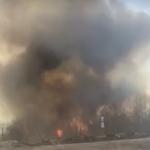 Пожар в Страшенах: горит растительность возле заправочной станции (ВИДЕО)