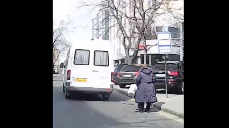 В столице водитель не пустил в маршрутку женщину с тростью (ВИДЕО)