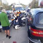 (ОБНОВЛЕНО) Утренняя авария в столице: пострадал мотоциклист (ФОТО, ВИДЕО)