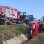 ДТП в Хынчештах: на трассе перевернулся микроавтобус (ФОТО)