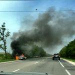 На трассе Оргеев - Теленешты загорелся автомобиль