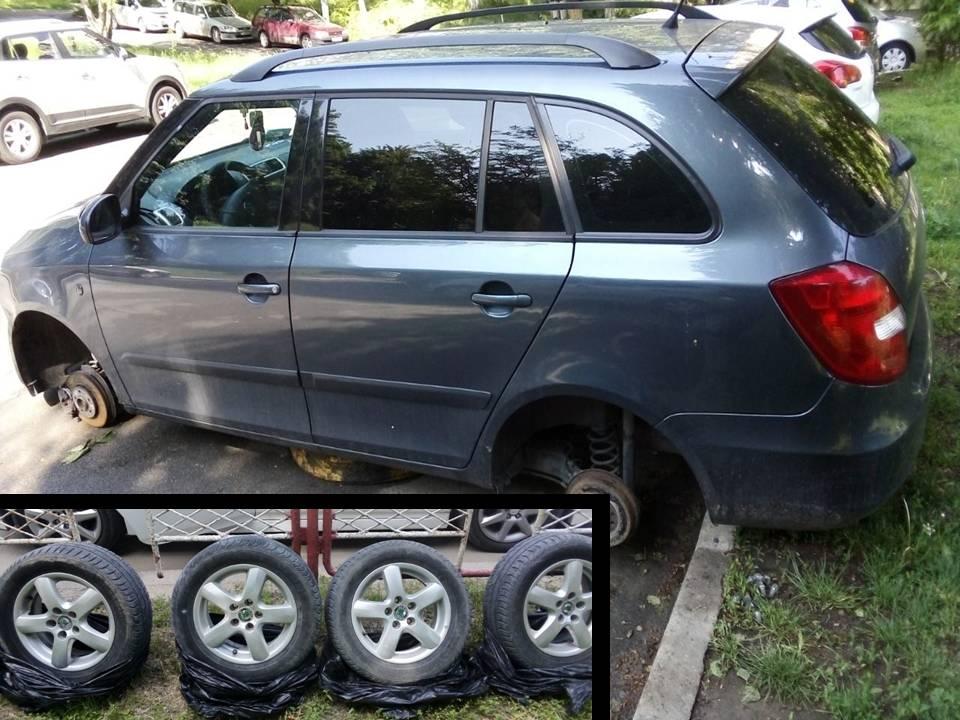 Снял колёса с чужого авто: полиция задержала вора-рецидивиста (ВИДЕО)
