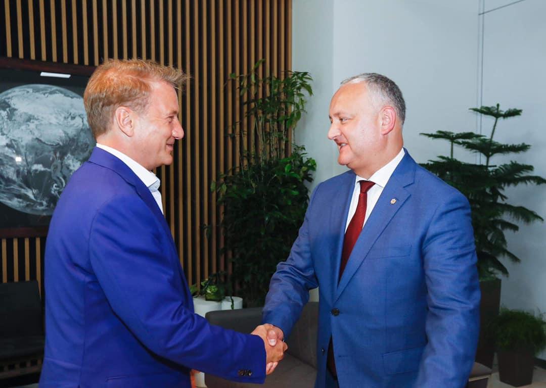 Додон обсудил с Грефом вопросы торгово-экономического сотрудничества и привлечения инвестиций в Молдову