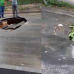 Ямы, как грибы: очередная дыра появилась на столичной улице после дождя (ФОТО)