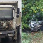 Ещё одно ДТП в Хынчештах: легковушка вылетела с трассы в кусты после столкновения с грузовиком (ФОТО)