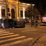 Ночная авария: в центре столицы перевернулся автомобиль (ФОТО)