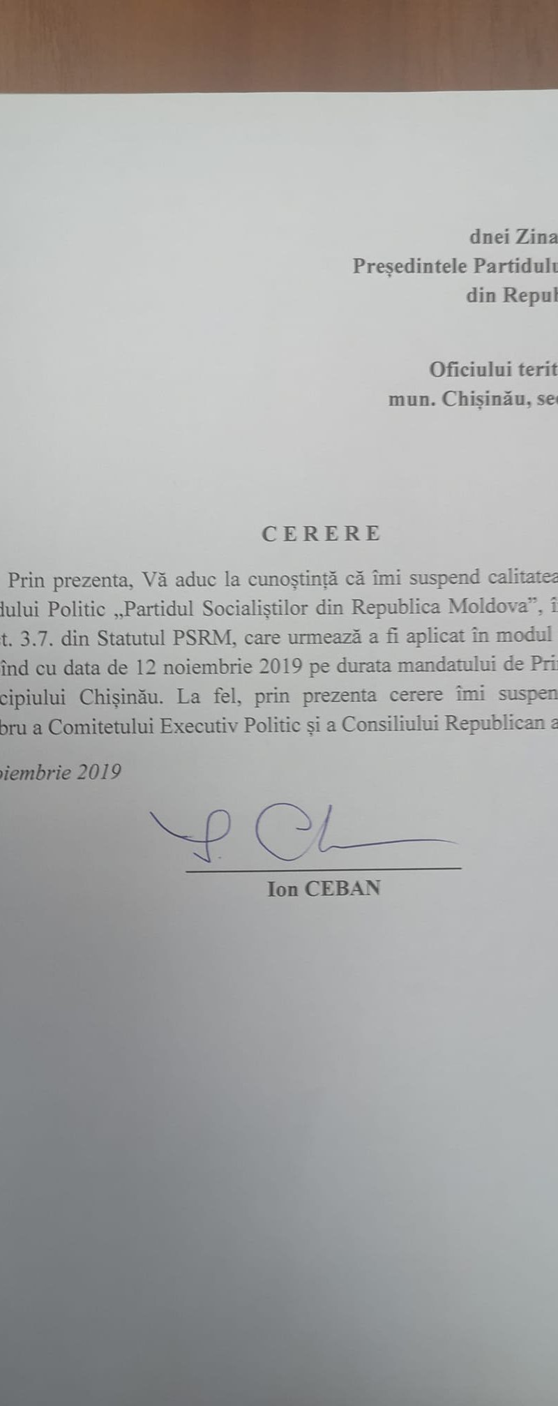Сказано – сделано! Чебан, как и обещал, приостановил членство в ПСРМ