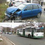 Крупная авария в Бендерах: столкнулись три автомобиля и троллейбус (ВИДЕО)
