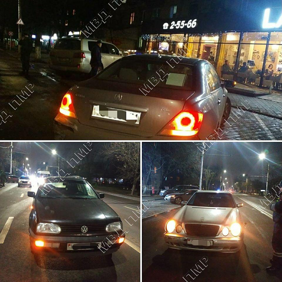 Цепная авария в Тирасполе: столкнулись три автомобиля