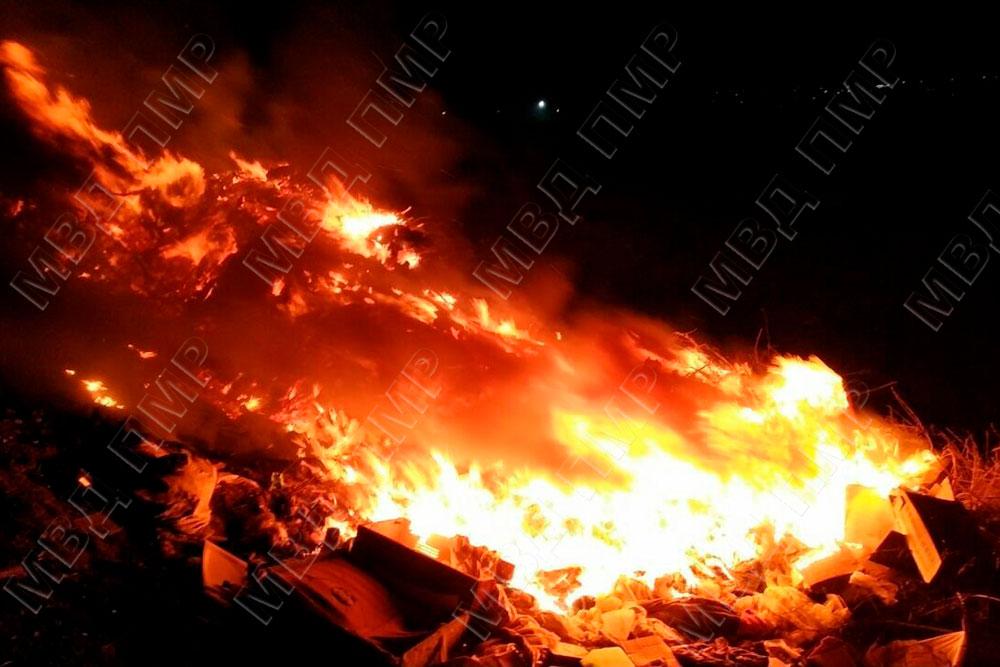 В Слободзейском районе произошел крупный пожар на свалке
