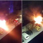 В Дурлештах прямо под окнами жилого дома загорелся автомобиль (ВИДЕО)