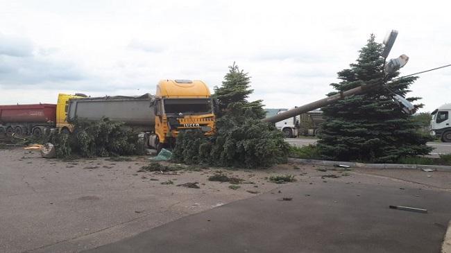 Авария на кругу в Оргееве: грузовик снёс столб и несколько ёлок (ФОТО)