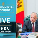 Игорь Додон ответит в прямом эфире на вопросы граждан