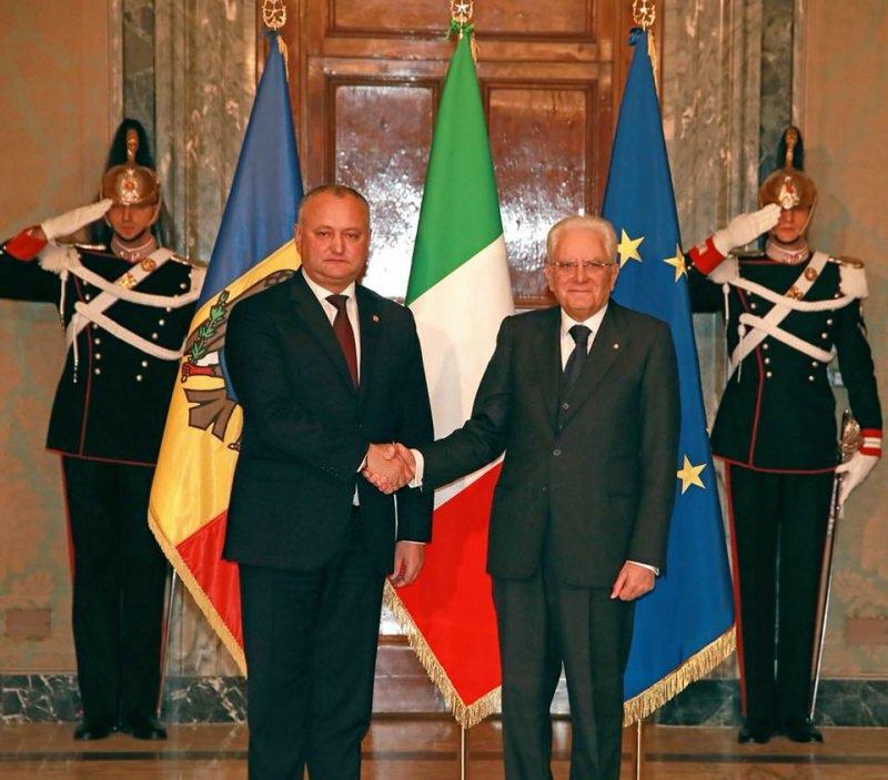 Игорь Додон поздравил президента Италии с национальным праздником этой страны