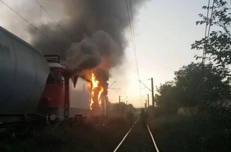 В Унгенах загорелся локомотив