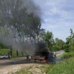 ЧП в Бричанах: вспыхнула машина дорожной службы (ФОТО)