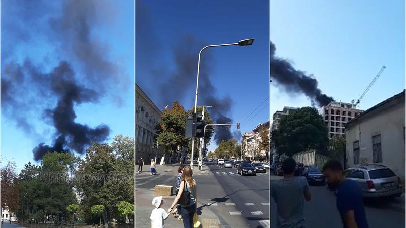 Пожар в центре столицы: горит строящееся здание (ВИДЕО)
