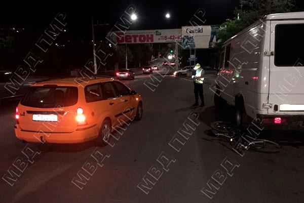 ДТП в Тирасполе: нетрезвый велосипедист влетел в машину