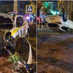 Авария с участием полицейской машины в центре столицы. Второй автомобиль перевернулся (ФОТО)
