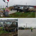 Автокран и локомотив столкнулись на железнодорожном переезде