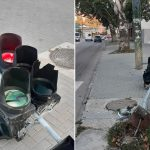 Авария на Ботанике: водитель снёс светофор и скрылся с места ДТП (ФОТО)