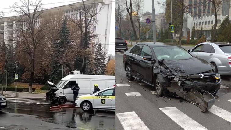 Два авто столкнулись лоб в лоб в самом центре столицы (ФОТО)
