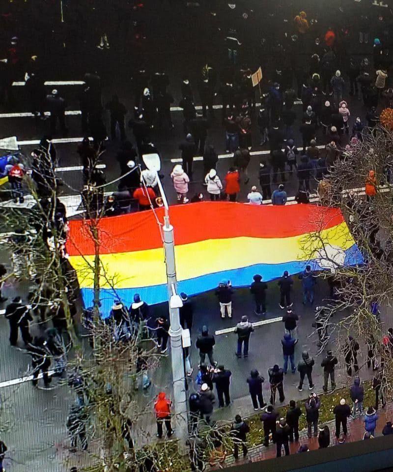 На протесте Санду развернули флаг Румынии