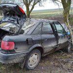 Машина врезалась в дерево, пострадал водитель