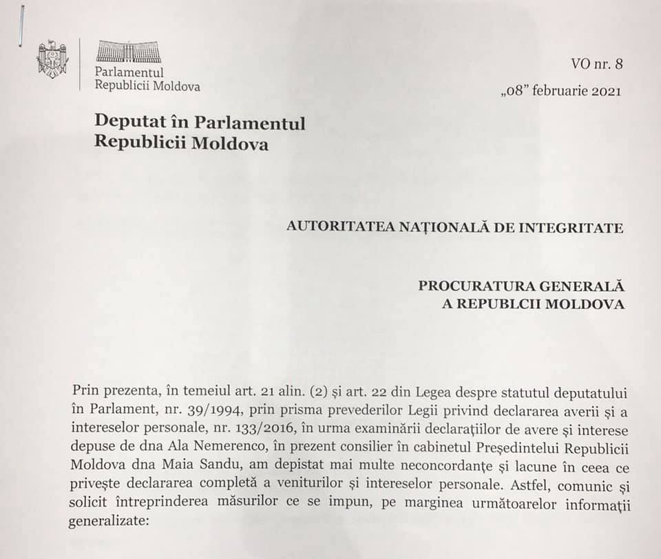 Социалисты требуют проверить имущество Аллы Немеренко