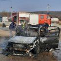 В Кагуле около заправки сгорела машина (ФОТО)