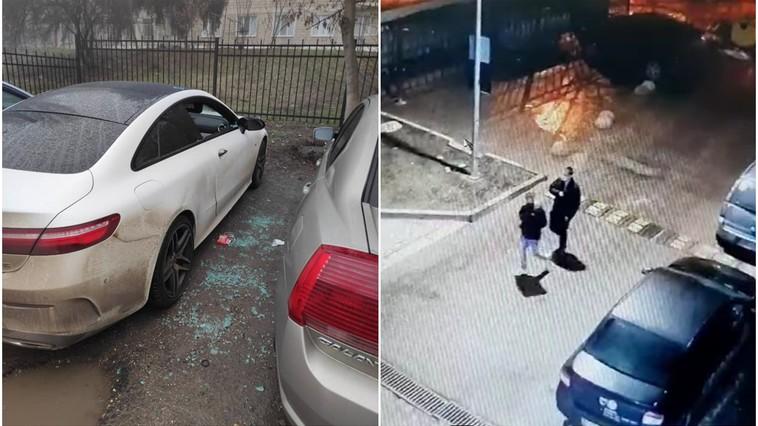 В столице подростки-хулиганы разбили окна нескольких припаркованных машин (ВИДЕО)