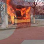 Пожар на Чеканах: сгорел киоск по ремонту обуви